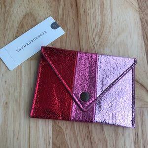Anthropologie Elle Metallic Card Holder • PINK •